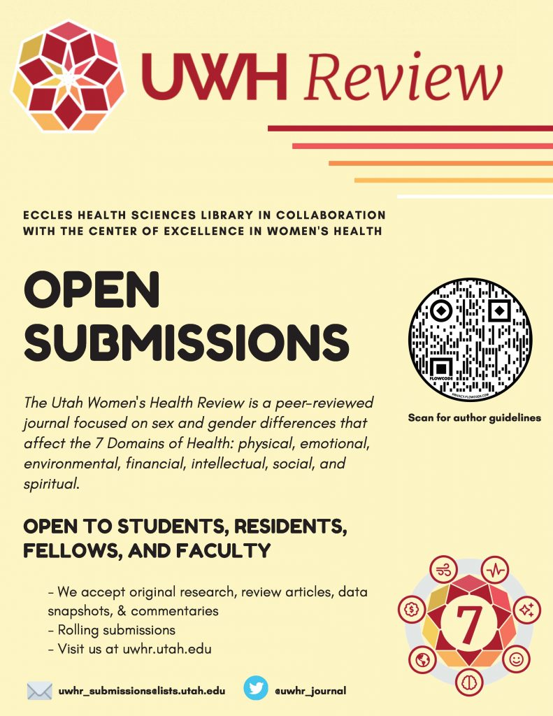 A flyer of the UWH Review call for submissions.