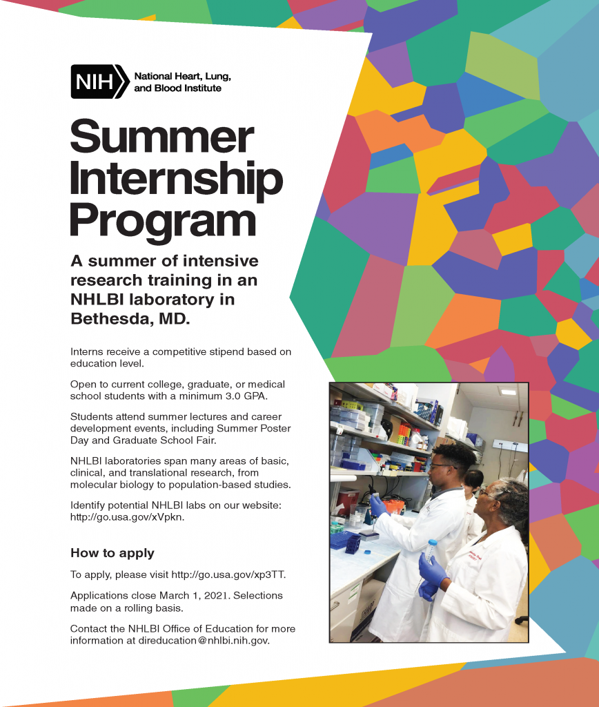 Flyer about NHLBI 2021 Summer Internship Program