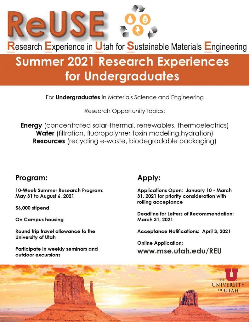 Flyer of ReUSE REU Program