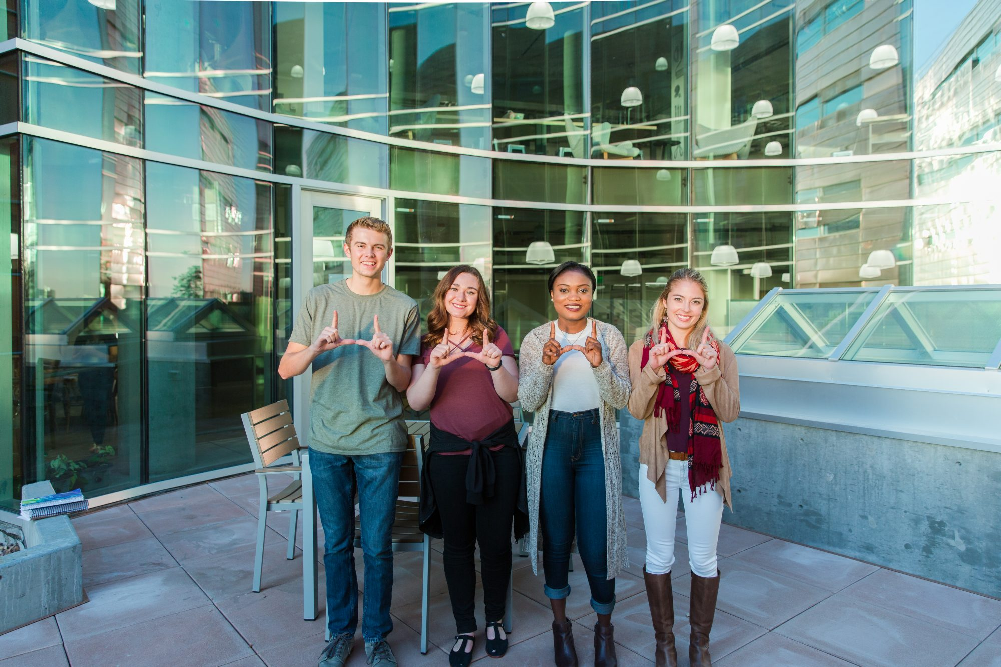 Students flashing the block U