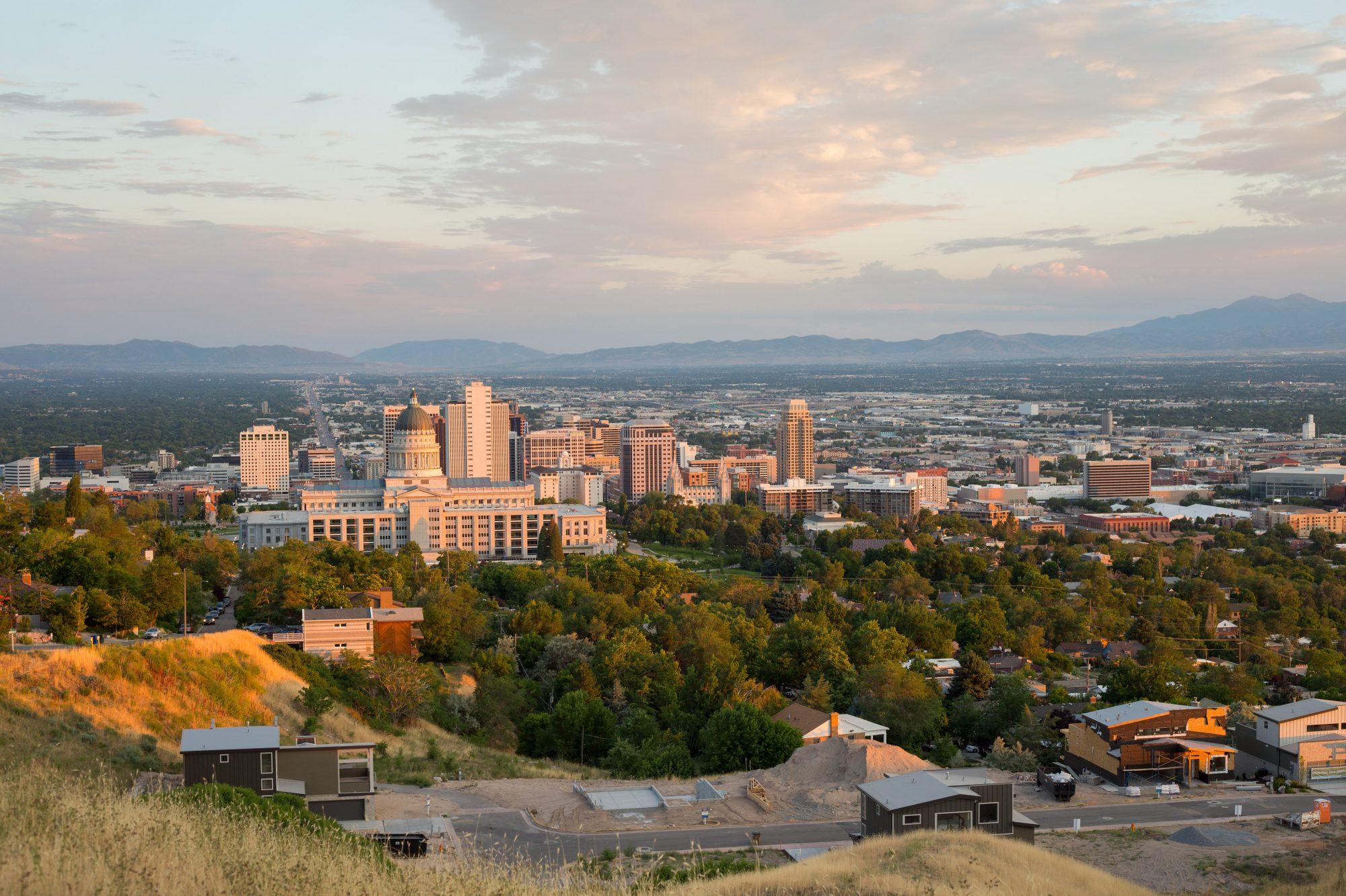 Salt Lake City at sunset