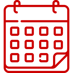 red calendar linear icon