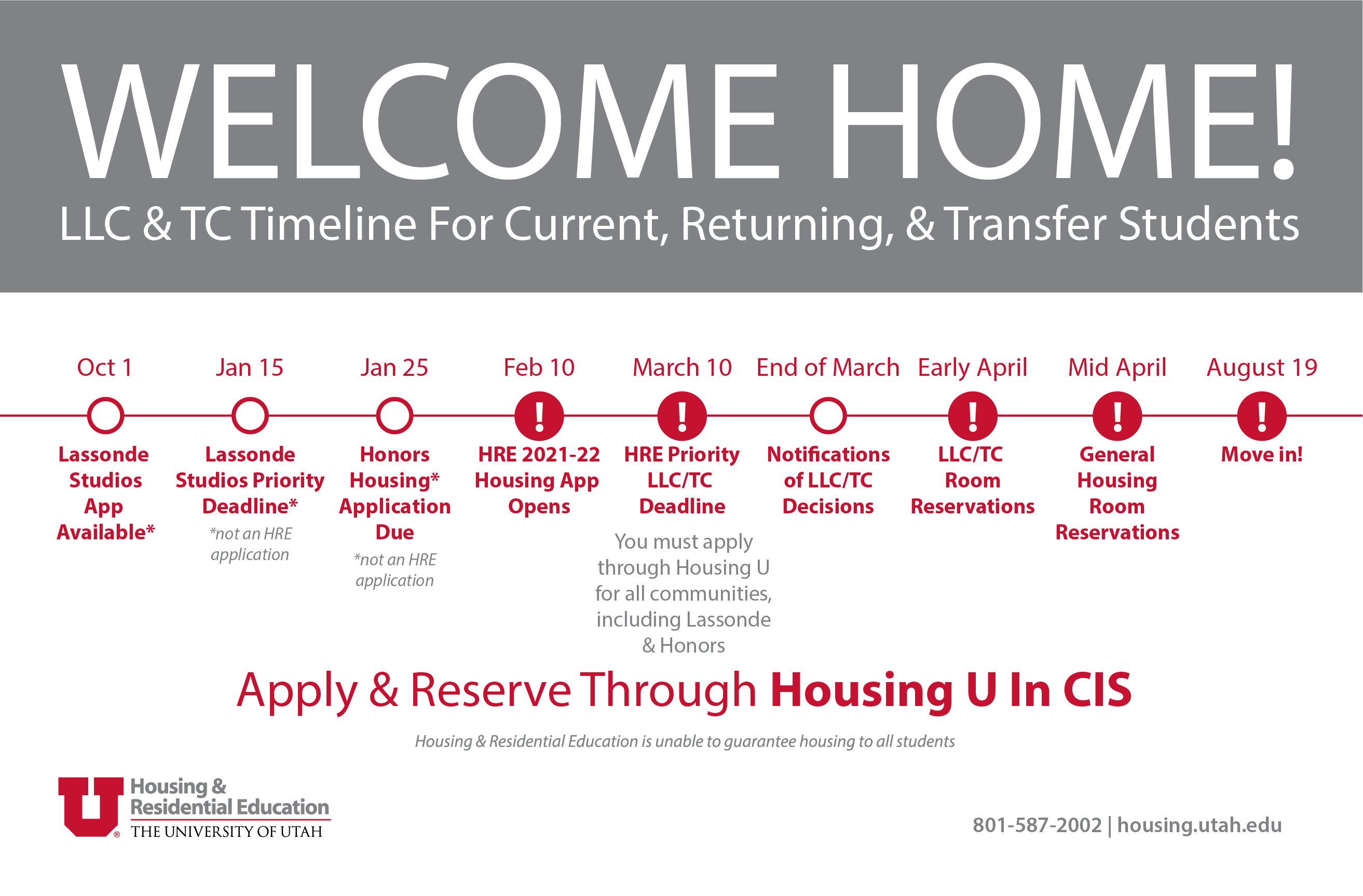 Welcome Home! LLC & TC Timeline For Current, Returning, & Transfer Students