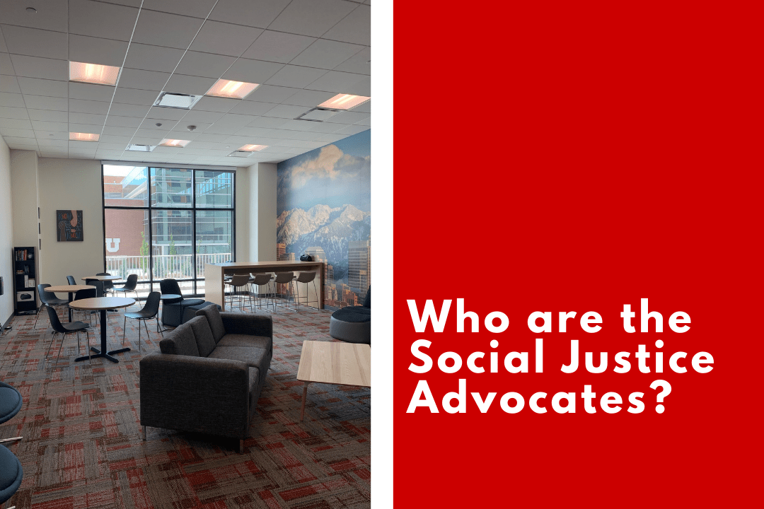 On the left side is an image of the Equity Living room, dispersed with chairs and tables and a couch in the foreground. Divided by a white line there the right side of the image is a field of red with text reading Who are the social justice Advocates?