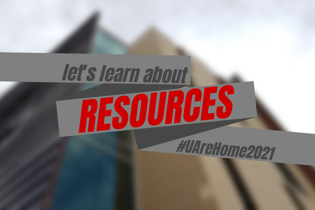 Grey bars diagonally covering the center of a blurred out image of Lassonde Studios. Text reads Let's learn about resource #UAreHome2021