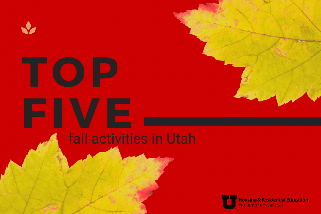 """Red background with two yellow leaves and text that reads """"Top five fall activities in Utah"""""""