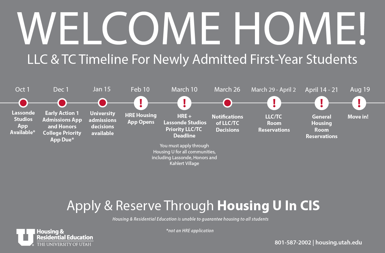 Welcome home! LLC Housing Timeline for Newly Admitted First-Year Students