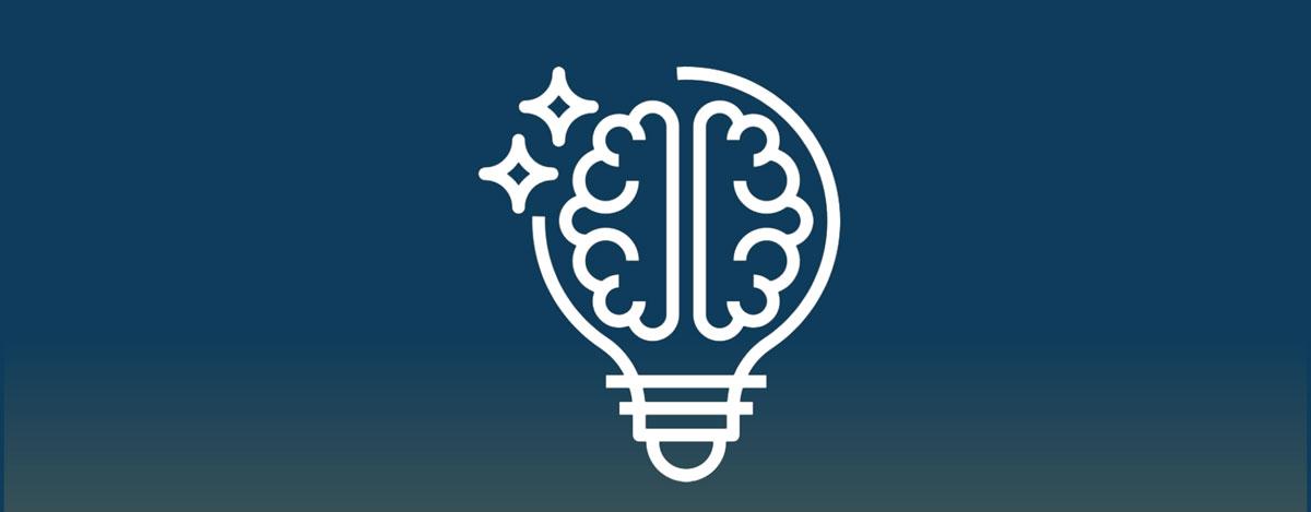 Brain inside lightbulb icon